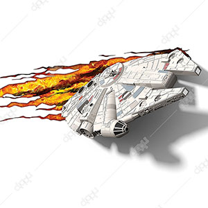 3D Star Wars Ep7 Millennium Falcon Wall Light